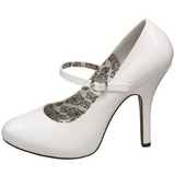 Bianco Vernice 12 cm rockabilly TEMPT-35 scarpe décolleté con tacchi bassi