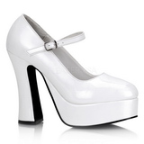 Bianco Vernice 13 cm DOLLY-50 Mary Jane Plateau Scarpe Décolleté