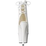 Bianco Verniciato 18 cm Pleaser ADORE-1018 Plateau Stivaletti Donna