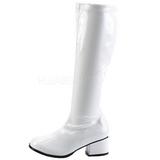 Bianco Verniciato 5 cm RETRO-300 Stivali Tacco Alto Donna