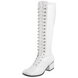 Bianco Verniciato 5 cm RETRO-302 Stivali Stringati Donna