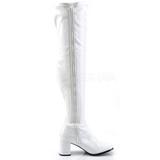 Bianco Verniciato 8 cm GOGO-3000 Stivali overknee donna