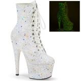 Bianco glitter 18 cm ADORE-1020GDLG stivaletti alti con lacci da pole dance