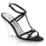 Black 10,5 cm LOVELY-428 Women Wedge Sandals