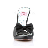 Black 10 cm SIREN-03 Pinup Mules Shoes with Bow Tie