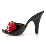 Black 10 cm SIREN-06 Pinup Mules Shoes with Bow Tie