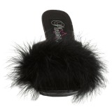 Black 11,5 cm FLAIR-401F Marabou Feathers Mules Shoes