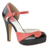 Black 11,5 cm retro vintage BETTIE-17 Pinup pumps with hidden platform