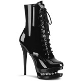 Black 15,5 cm BLONDIE-R-1020 lace up platform ankle boots in patent