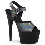 Black 18 cm ADORE-708N-DT Hologram platform high heels shoes