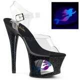 Black 18 cm MOON-708MER Neon platform high heels shoes