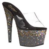 Black 18 cm PLEASER STARSPLASH-701 Star Platform High Mules Shoes
