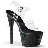 Black 18 cm Pleaser SKY-308MG glitter high heels shoes