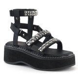 Black 5 cm Demonia EMILY-120 gladiator platform sandals