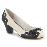 Black 6,5 cm retro vintage WIGGLE-17 Pinup Pumps Shoes with Cuben Heels