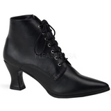 Black 7 cm VICTORIAN-35 Lace Up Ankle Calf Women Boots