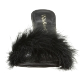 Black Feathers 10 cm CLASSIQUE-01F High Women Mules Shoes for Men