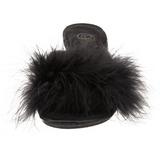 Black Feathers 8 cm BELLE-301F High Women Mules Shoes for Men