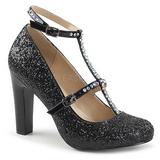 Black Glitter 10 cm QUEEN-01 big size pumps shoes