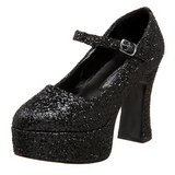 Black Glitter 11 cm MARYJANE-50G Platform Pumps Mary Jane