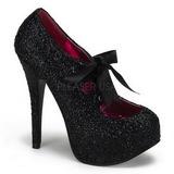 Black Glitter 14,5 cm Burlesque TEEZE-10G Platform Pumps Shoes