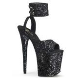 Black Glitter 20 cm Pleaser FLAMINGO-891LG High Heels Platform