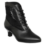 Black Lace Fabric 5 cm DAME-05 Lace Up Ankle Calf Women Boots