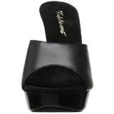 Black Leather 14 cm COCKTAIL-501L Platform High Heel Mules