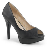 Black Leatherette 13,5 cm CHLOE-01 big size pumps shoes