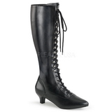 Black Leatherette 5 cm FAB-2023 big size boots womens