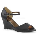 Black Leatherette 7,5 cm KIMBERLY-05 big size sandals womens