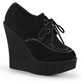 Black Leatherette CREEPER-302 creepers wedges women shoes
