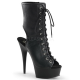 Black Matte 15,5 cm DELIGHT-1016 Open Toe Platform Ankle Calf Boots
