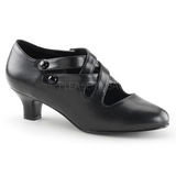 Black Matte 5 cm retro vintage DAME-02 Pumps with low heels