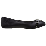 Black Matte STAR-21 gothic ballerina shoes flat heels