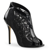 Black Mesh 13 cm AMUSE-48 High Heeled Evening Pumps Shoes