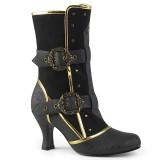 Black Microfiber 7,5 cm MATEY-205 Retro Ankle Calf Boots
