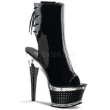 Black Patent 16,5 cm Pleaser ILLUSION-1018 Platform Ankle Calf Boots