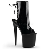 Black Patent 20 cm Pleaser FLAMINGO-1018 Platform Ankle Calf Boots