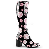 Black Patent 8,5 cm Funtasma GOGO-300FL Hippie Women Knee Boots
