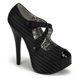 Black Pinstripe 14,5 cm Burlesque TEEZE-23 Womens Shoes with High Heels