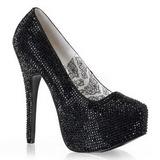 Black Rhinestone 14,5 cm Burlesque TEEZE-06R Platform Pumps Women Shoes
