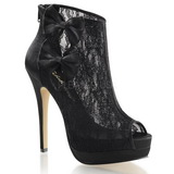 Black Satin 13,5 cm BELLA-28 Peep Toe Platform Ankle Calf Boots