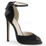 Black Satin 13 cm SEXY-16 Low Heeled Classic Pumps Shoes