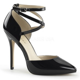 Black Shiny 13 cm AMUSE-25 Pumps High Heels for Men