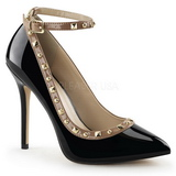 Black Shiny 13 cm AMUSE-28 Low Heeled Classic Pumps Shoes