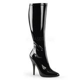 Black Shiny 13 cm SEDUCE-2000 High Heeled Womens Boots for Men