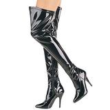 Black Shiny 13 cm SEDUCE-3000 Overknee Boots Flat Heels