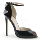 Black Shiny 13 cm SEXY-16 Low Heeled Classic Pumps Shoes