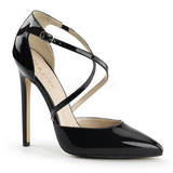Black Shiny 13 cm SEXY-26 Low Heeled Classic Pumps Shoes